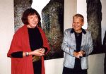 Hanna Zawa-Cywińska and Elżbieta Dzikowska (the authors) on the vernissage of the exhibition of THE MEGALITH, 2002