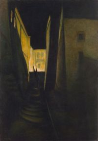 Leon Getz, Sanok stairs at night, 30s